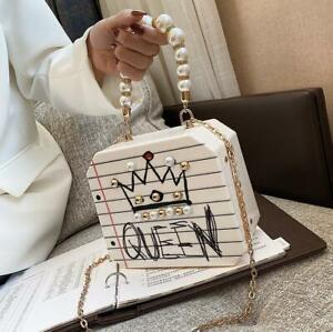 Women Pearl Leather Handbag Lady PU Shoulder Tote Shell Satchel Messenger Bag
