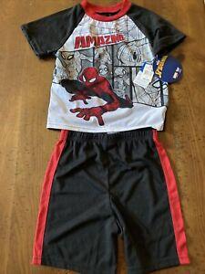 boys summer spiderman pajamas size 6 NWT