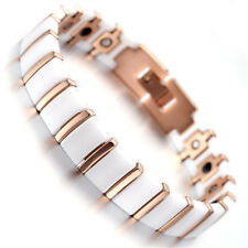 Women Rose Gold Tungsten Ceramic Magnetic Therapy Bracelet for Arthritis Pain