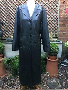 CLOCKHOUSE black leather very long women's Coat size 16 UK