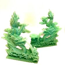 Dragon Figurines Two Pieces Green Glow in Dark Statues Red Eyes 10 inches Long