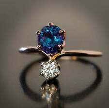 Blue Sapphire Wedding Jewelry Size 10 Elegant Rose Gold Filled Ring Women