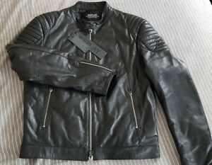 Mens Stunning Replay Black Leather  Biker jacket in Size Large. BNWT