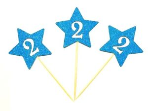 12 x Birthday Boy Second (2nd) Birthday Stars With Age Cup Cake Topper, Picks