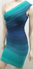 HERVE LEGER Blue & Green One Shoulder Bandage Bodycon Evening Mini Dress XS