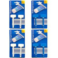 8er Set Tubenausdrücker Tubenquetscher Blau Weiß   Tubenpresse Kunststoff