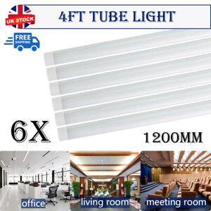 6X Bright 4ft 1200mm LED Wide Tube Batten Light Ceiling Strips Fitting Daylights
