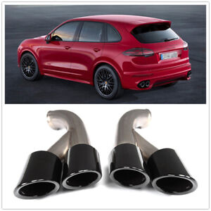 Glossy Black GTS Style Exhaust Tips Muffler Pipe For Porsche Cayenne V6 2015+