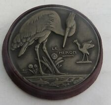 NICE ART DECO FRENCH 'LE HERON' BRONZE BROOCH by JEAN VERNON
