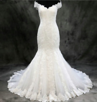 Off the Shoulder White Ivory Mermaid Wedding Dresses Bridal Gowns Lace Applique