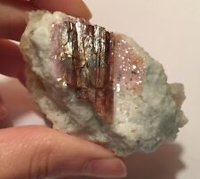 Lepidolite And Red Tourmaline Crystal In Matrix ~ Brazil