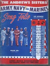 Andrews Sisters' Army Navy and Marines Song Folio 60 Songs Sheet Music