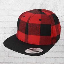 Yupoong Snapback a quadri CAP checked FLANELLA nero rosso cappuccio BERRETTO boscaiolo ha