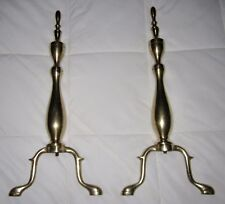 Vintage Fireplace Andirons Solid Brass Firedogs Bright Gold Finish Square Nuts