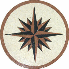 Nautical Compass Medallion Design Floor Pool Home Marble Mosaic MD954