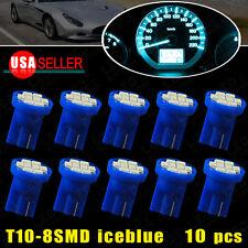 10Pcs Ice Blue T10 Wedge 8 LED Bulb Dash Climate Control Instrument Base Light