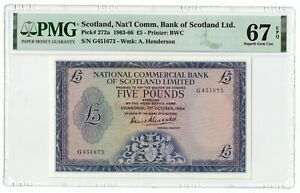 SCOTLAND 5 POUNDS,PMG 67EPQ,Highest Graded1964,Pick272a,National commercial bank