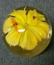 Beautiful Yellow Flower Art Glass Paperweight