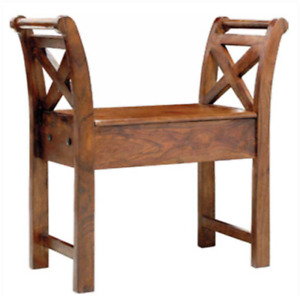 Wooden Single Seater Bench with an attached Box Seating Capacity of 1 Person