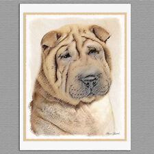 6 Shar Pei Dog Blank Art Note Greeting Cards