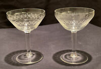2 VINTAGE CHAMPAGNE SAUCER COUPE BOAT CUP ETCHED GLASS COCKTAIL PROSECCO CAVA