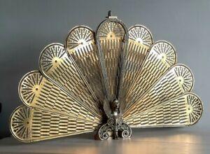 ❤ Vintage Brass Folding Peacock Fan Fireplace Screen Guard Phoenix/Griffin VGC👌