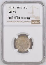 1913-D Type 1 Buffalo Nickel 5 Cents Coin - NGC MS 63  Toning