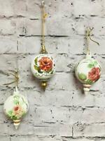Debbie Burns Set of 3 Victorian Hand Painted Porcelain Ornaments Floral 1985
