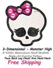 3-D  Monster High Glitter Rhinestones Skull Skullette  Body Art Jewelry Tattoos