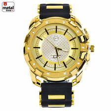 Men's Hip Hop Iced Out Gold Plated Silicone Band Techno Pave Watches WR 8344 GBK