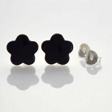 925 Sterling Silver -  Black Onyx Stone Flower Stud Earrings (SE0320)