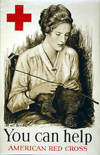 Vintage Patriotic Red Cross Poster WW 2