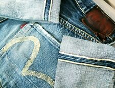HOT VTG 90s Men EVISU @ PAINTED LOG0 LOOSE SELVEDGE Denim Jeans 30x35 *Fit 29x33
