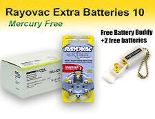 60 Rayovac Size 10 Hearing Aid Batteries Mercury Free + Holder/2 Extra Batteries