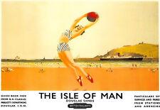 Isla De Man Deco escena de playa A3 arte cartel impresión