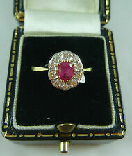 FABULOUS 18K/CARAT YELLOW GOLD RUBY AND DIAMOND POSY STYLE  RING NEW IN BOX