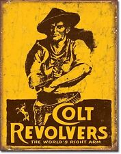 Colt Revolvers The World's Right Arm Metal Sign Tin New Pistol Cowboys 1789