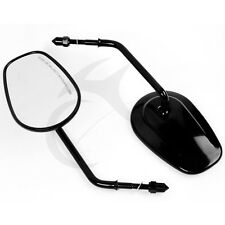 Black Oval Rear View Mirrors For Harley Softail Springer Heritage Classic 8mm