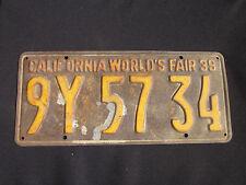 RARE--1939 CALIFORNIA WORLD'S FAIR California License Plate #9Y5743