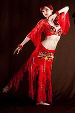 Professional Beaded Sequin Belly Dance Costume Bra Top & Belt - Red