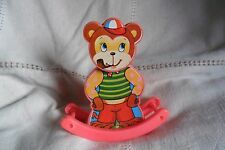 A GREAT VINTAGE CLASSIC SOLPA BEAR PLASTIC WIND UP ROCKER GREECE , working order