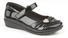 Girls Kids Black Patent Touch Fastening School Formal Party Shoes Size 8 - 2 12