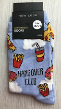 Ladies/Girls Blue Hangover Club Fast Foods Cotton Ankle Socks