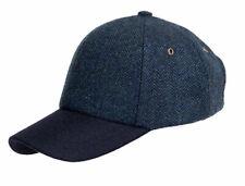 New  Men's Blue Herringbone Wool Tweed Baseball Cap BL102
