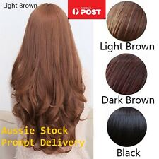 Womens Girls Long Curly Wavy full hair wigs Cosplay Party Costume Brown Black 3