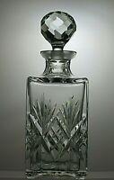 "EDINBURGH CUT GLASS CRYSTAL EMBASSY CUT SQUARE WHISKY DECANTER - 10 1/4"" TALL"
