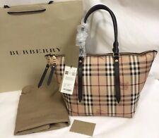 NWT Burberry Haymarket Small Salisbury Tote Shoulder Bag , Chocolate