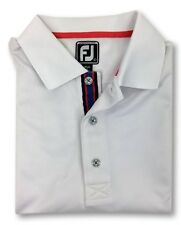 FootJoy Men's L Large Golf Polo Shirt White Solid Athletic Fit Polyester