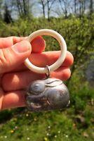 wunderschöne antike Kinderrassel von WMF Hase versilbert mit Beißring Glocke