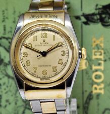 Rolex Vintage 1940's Hooded Bubbleback 14k Gold & Steel Mens Watch & Box 3065